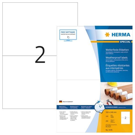 HERMA 4378 Etiketten A4 210x148 mm weiß extrem stark haftend Pap