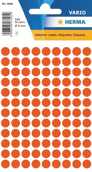 HERMA 1842 Vielzwecketiketten Ø 8 mm rund rot Papier matt 5400 S