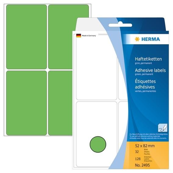 HERMA 2495 Vielzwecketiketten 52x82 mm grün Papier matt Handbesc