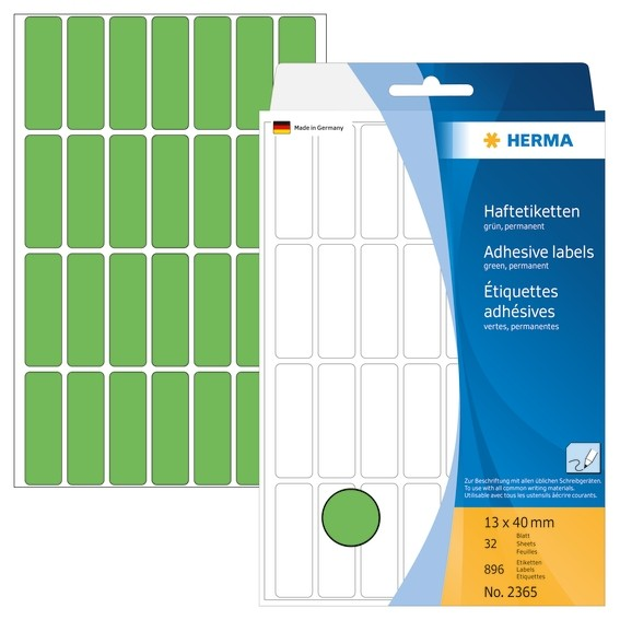 HERMA 2365 Vielzwecketiketten 13x40 mm grün Papier matt Handbesc