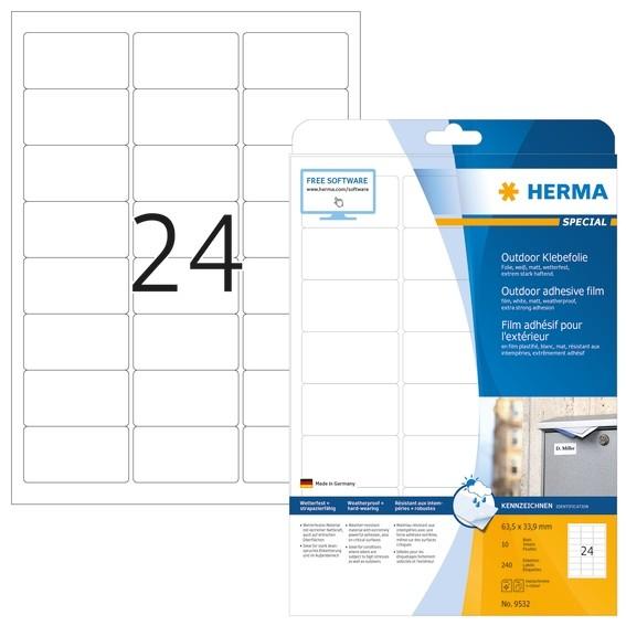 HERMA 9532 Etiketten A4 Outdoor Klebefolie 63,5x33,9 mm weiß ext