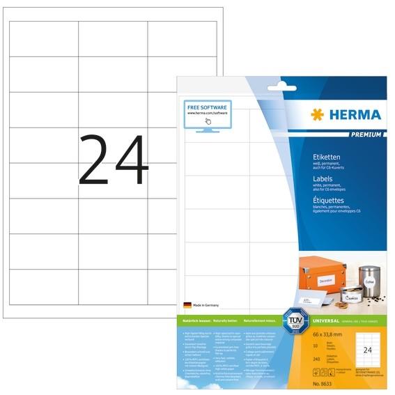 HERMA 8633 Etiketten Premium A4 66x33,8 mm weiß Papier matt 240