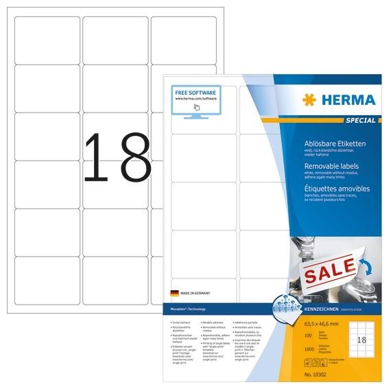 HERMA 10302 Ablösbare Etiketten A4 63,5x46,6 mm weiß Movables/ab