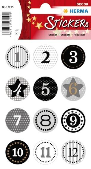 HERMA 15255 10x Sticker DECOR Adventskalender10x Sticker 1-24, S