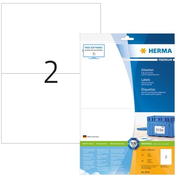 HERMA 8636 Etiketten Premium A4 210x148 mm weiß Papier matt 20 S