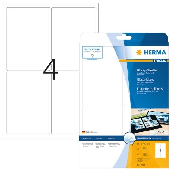 HERMA 4908 Etiketten A4 96x139,7 mm weiß Papier glänzend 100 St.