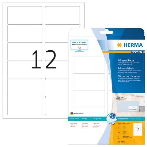 HERMA 8842 Inkjet Adressetiketten A4 88,9x46,6 mm weiß Papier ma