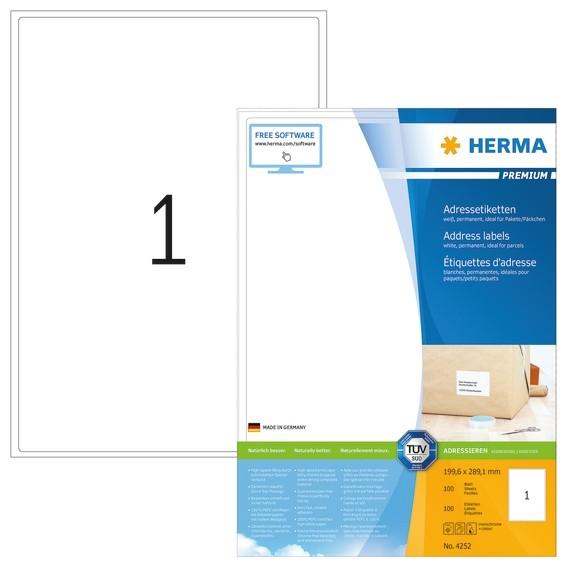 HERMA 4252 Adressetiketten Premium A4 199,6x289,1 mm weiß Papier
