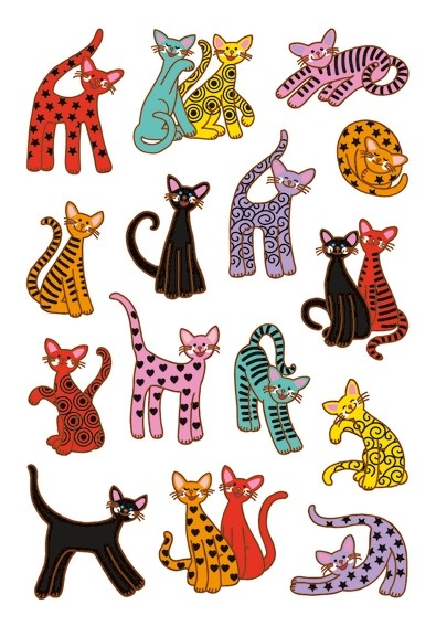 HERMA 3337 10x Sticker DECOR Abstrakte Katzen