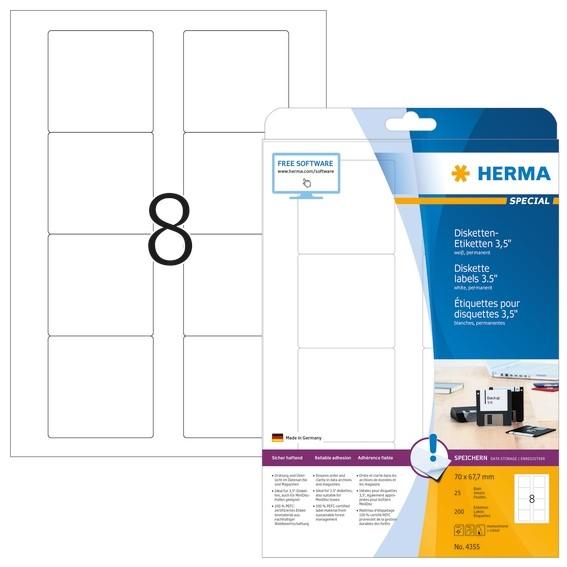 HERMA 4355 Disketten-Etiketten A4 70x67,7 mm weiß Papier matt 20