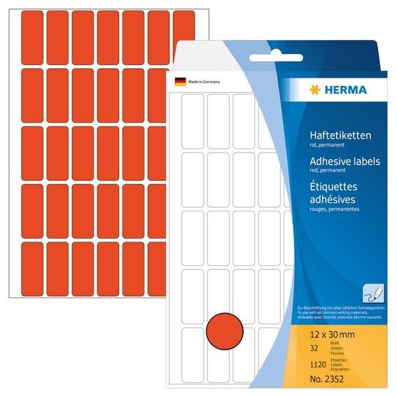 HERMA 2352 Vielzwecketiketten 12x30 mm rot Papier matt Handbesch