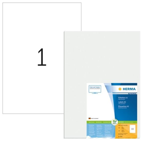 HERMA 8692 A3-Etiketten Premium 297x420 mm weiß Papier matt 100