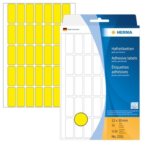 HERMA 2351 Vielzwecketiketten 12x30 mm gelb Papier matt Handbesc