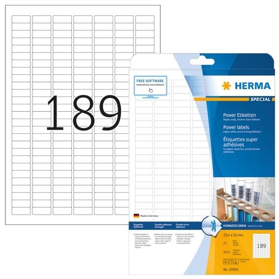 HERMA 10900 Etiketten A4 25,4x10 mm weiß extrem stark haftend Pa