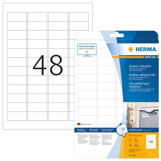 HERMA 9531 Etiketten A4 Outdoor Klebefolie 45,7x21,2 mm weiß ext