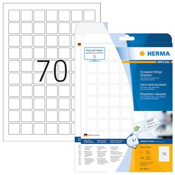 HERMA 8339 Etiketten strapazierfähig A4 24x24 mm weiß stark haft