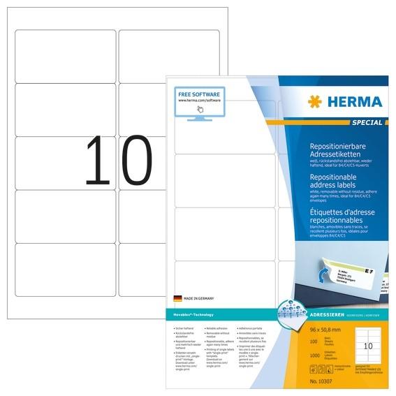 HERMA 10307 Repositionierbare Adressetiketten A4 96x50,8 mm weiß