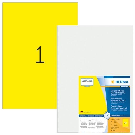 HERMA 8037 Signal-Schilder strapazierfähig A3 297x420 mm gelb st
