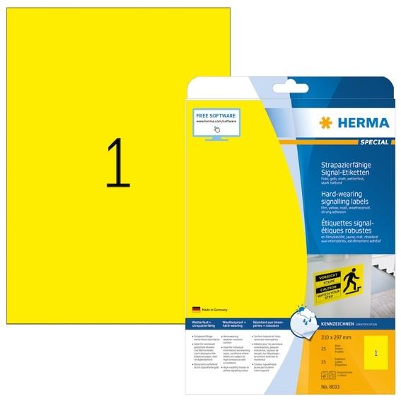 HERMA 8033 Signal-Schilder strapazierfähig A4 210x297 mm gelb st