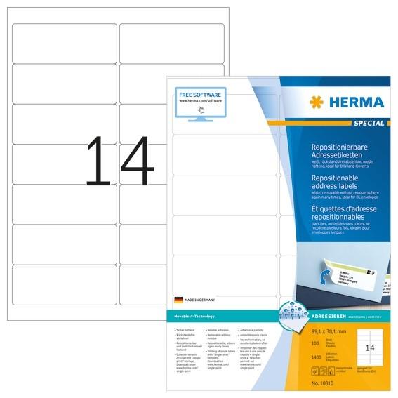 HERMA 10310 Repositionierbare Adressetiketten A4 99,1x38,1 mm we
