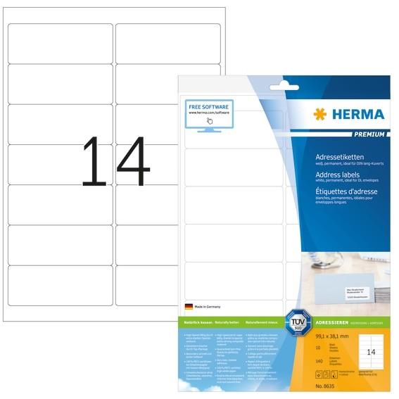 HERMA 8635 Adressetiketten Premium A4 99,1x38,1 mm weiß Papier m