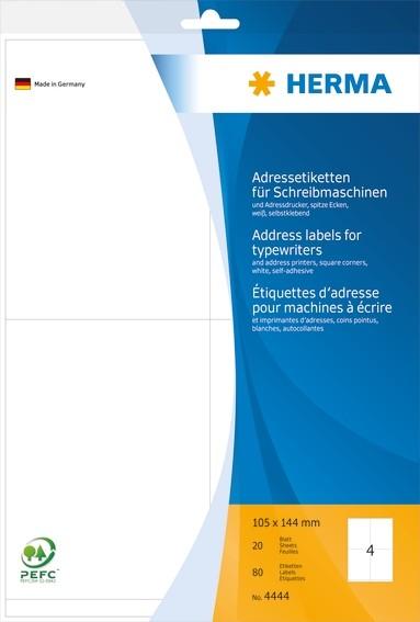 HERMA 4444 Adressetiketten für Schreibmaschinen A4 105x144 mm Pa