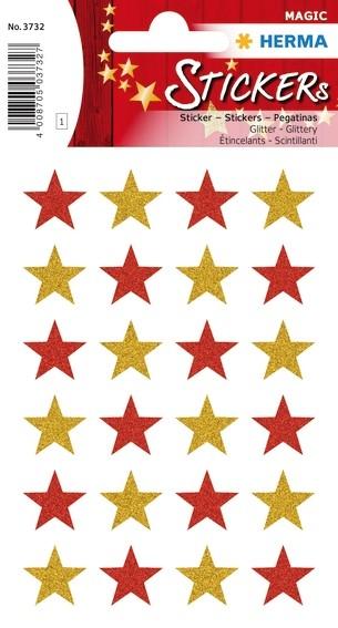HERMA 3732 10x Sticker MAGIC Sterne, glittery