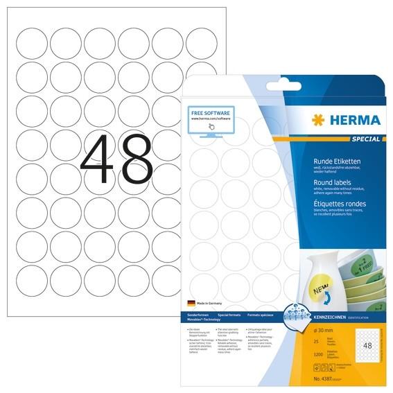 HERMA 4387 Ablösbare Etiketten A4 Ø 30 mm rund weiß Movables/abl