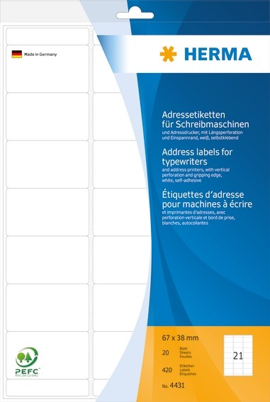 HERMA 4431 Adressetiketten für Schreibmaschinen A4 67x38 mm Papi