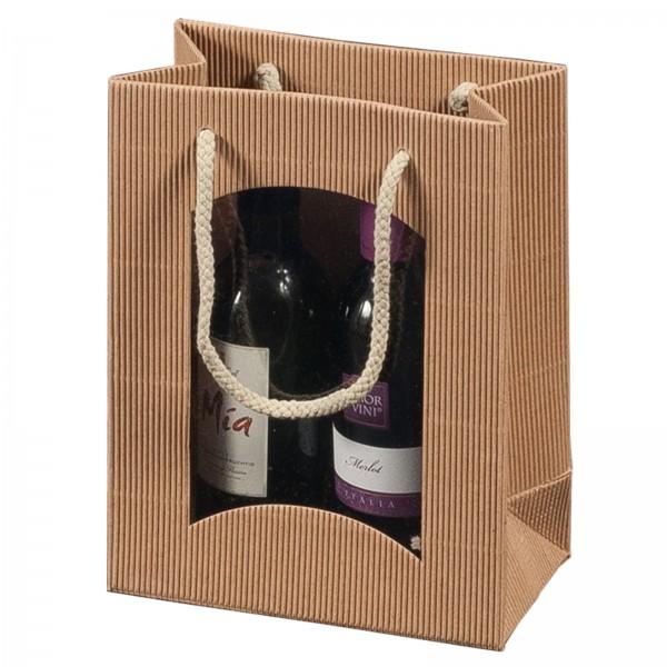Geschenk-Flaschentasche für 2 Piccolo-Weinflaschen mit Sichtfenster Natur