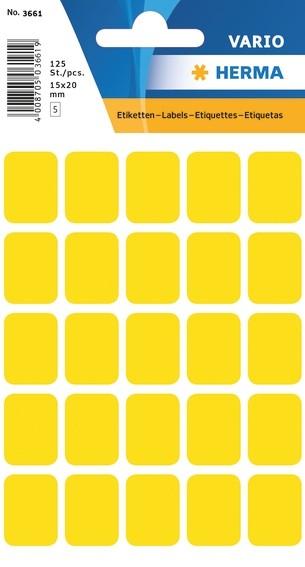 HERMA 3661 Vielzwecketiketten 15x20 mm gelb Papier matt 1250 St.