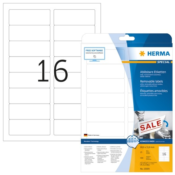 HERMA 10009 Ablösbare Etiketten A4 88,9x33,8 mm weiß Movables/ab
