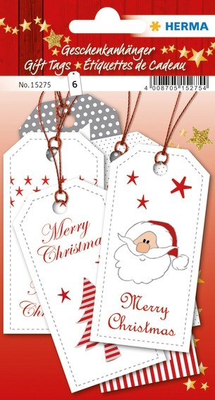 HERMA 15275 5x Geschenkanhänger Weihnachten Xmas 8 x 4 cm, rot s