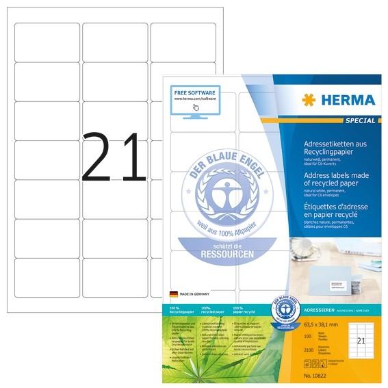 HERMA 10822 Adressetiketten A4 63,5x38,1 mm weiß Recyclingpapier