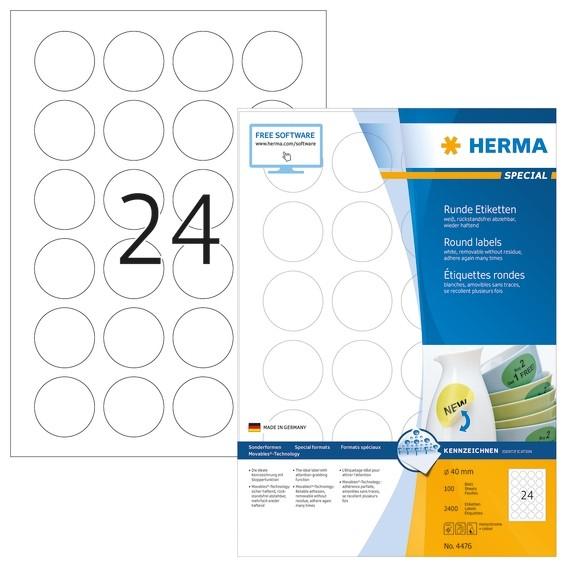 HERMA 4476 Ablösbare Etiketten A4 Ø 40 mm rund weiß Movables/abl