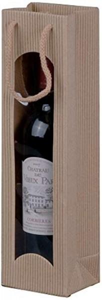 Geschenk-Flaschentasche für 1 Weinflasche mit Sichtfenster Natur
