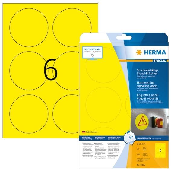 HERMA 8035 Signal-Schilder strapazierfähig A4 Ø 85 mm rund gelb
