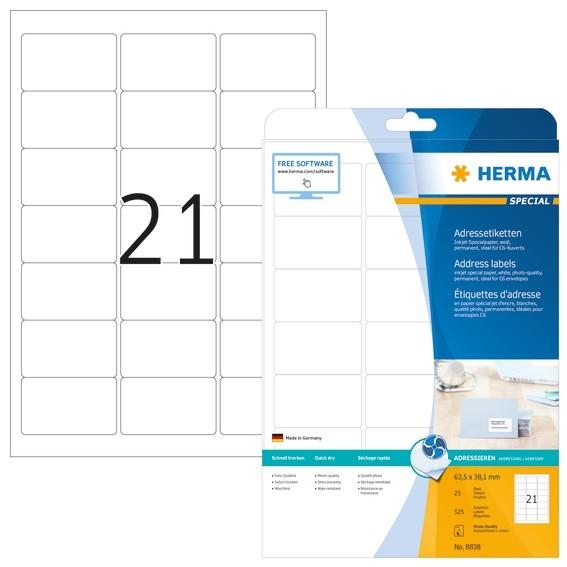 HERMA 8838 Inkjet Adressetiketten A4 63,5x38,1 mm weiß Papier ma