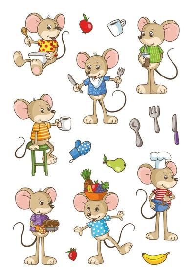 HERMA 6389 10x Sticker MAGIC Lustige Mäuse, Transpuffy
