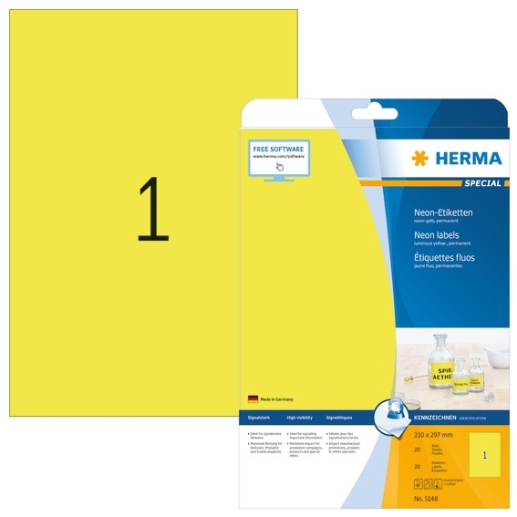 HERMA 5148 Neonetiketten A4 210x297 mm neon-gelb Papier matt 20