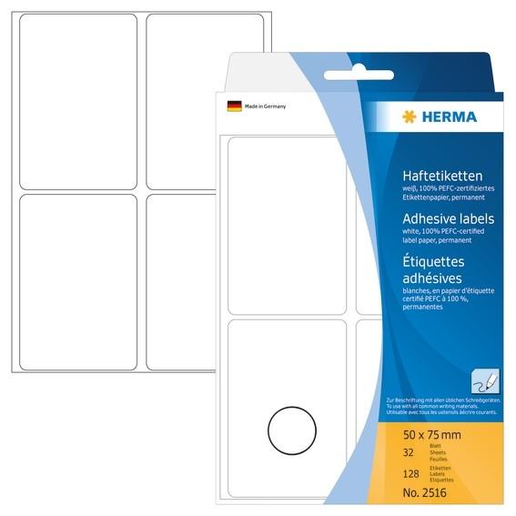 HERMA 2516 Vielzwecketiketten 50x75 mm weiß Papier matt Handbesc