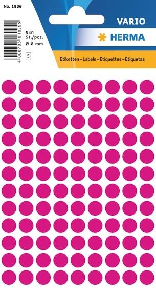 HERMA 1836 Vielzwecketiketten Ø 8 mm rund pink Papier matt 5400