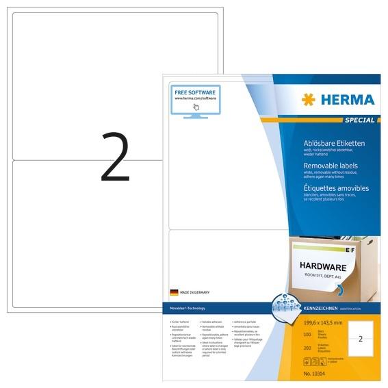 HERMA 10314 Ablösbare Etiketten A4 199,6x143,5 mm weiß Movables/