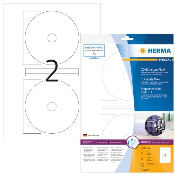 HERMA 8885 Inkjet CD-Etiketten Maxi A4 Ø 116 mm weiß Papier glän
