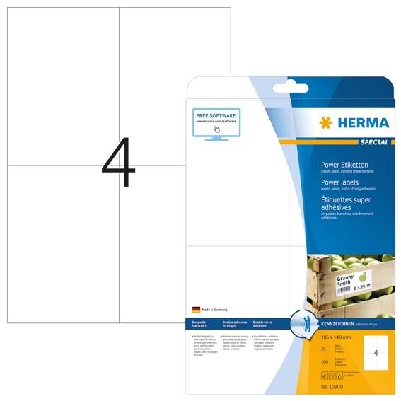 HERMA 10909 Etiketten A4 105x148 mm weiß extrem stark haftend Pa