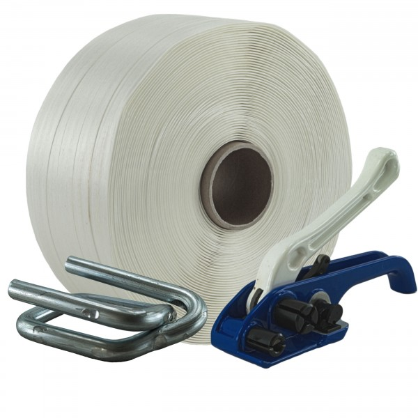 25 mm Textil Umreifung Set Umreifungsband Bandspanner Metallklem