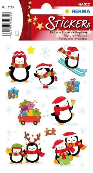 HERMA 15235 10x Sticker MAGIC Winter Pinguine, Prismaticfolie