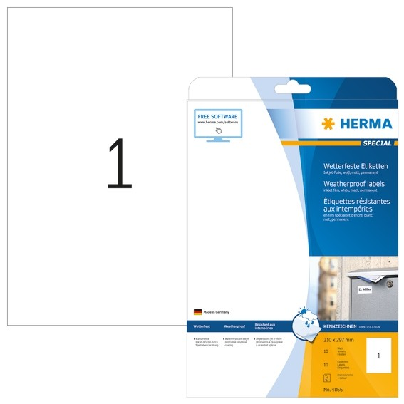 HERMA 4866 Inkjet-Etiketten A4 210x297 mm weiß Folie matt wetter