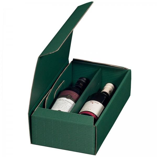 Geschenkkarton für 2 Flaschen Wein 192 x 95 x 360 mm Grün