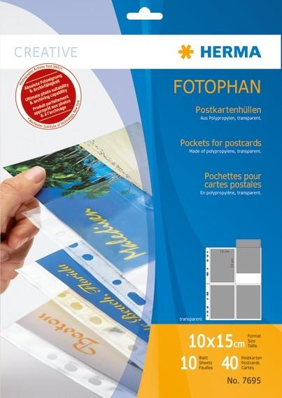 HERMA 7695 Postkartenhüllen, transparent, Folie 10 St.